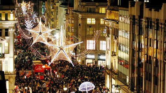 Crowds fill Oxford Street in December 2011