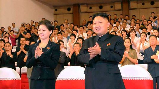 File photo of North Korean leader Kim Jong-Un and his wife Ri Sol-Ju in Pyongyang