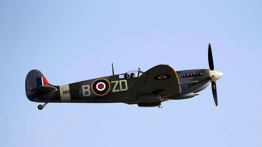 British pilot Bohomme flies a Second World War-era Supermarine Spitfire from Old Flying Machine Company during Malta Airshow at Malta International Airport