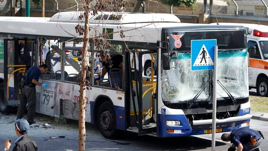 A bus was destroyed by an attack in Tel Aviv