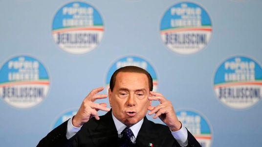 Former Italian Prime Minister Silvio Berlusconi speaks during political rally in downtown Rome