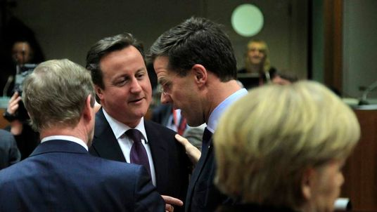 Ireland's PM Kenny Britain's PM Cameron Netherlands PM Rutte and Germany's Chancellor Merkel attend an European Union leaders summit meeting to discuss the European Union's long-term budget in Brussels