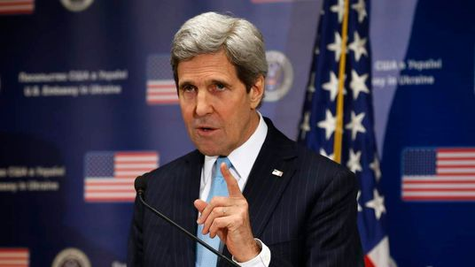 U.S. Secretary of State John Kerry speaks during a news conference at the U.S. Embassy in Kiev