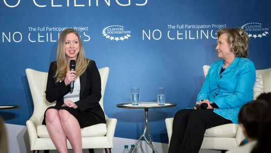 Chelsea and Hillary Clinton participates in A No Ceilings Conversation at Lower Eastside Girls Club in New York