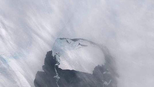 The B-31 Iceberg is seen after separating from a rift in Antarctica's Pine Island Glacier.