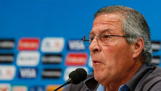 Uruguay's head coach Oscar Tabarez speaks during a news conference in Rio de Janeiro