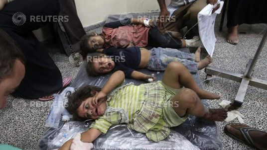 Palestinian children receive treatment at a hospital in Rafah in the southern Gaza Strip