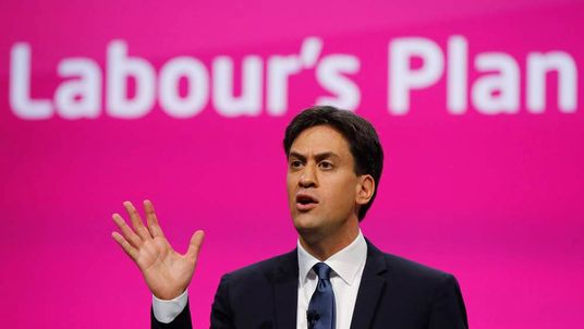 Labour Party leader Ed Miliband delivers his speech at the party's annual conference in Manchester.