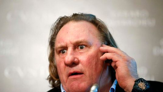 Gerard Depardieu attends a ceremony and news conference to present the watch from the line 'Proud to be Russian', promoted by the actor, in Moscow