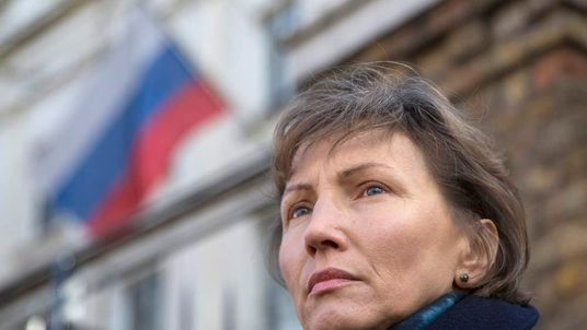 Marina Litvinenko, the widow of murdered KGB agent Alexander Litvinenko, attends a demonstration in support of Boris Nemtsov, former deputy prime minister of Russia and prominent critic of Vladimir Putin, outside the Russian Embassy in London