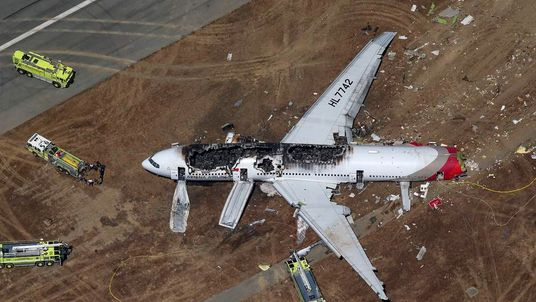 An Asiana Airlines Boeing 777 after a crash landing in San Fransisco