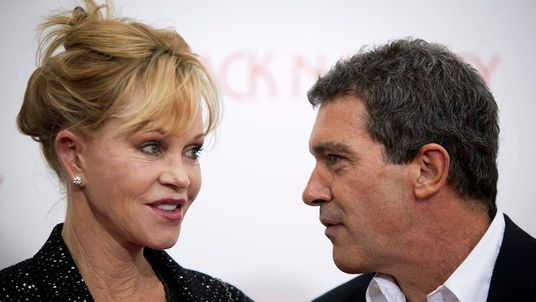 Antonio Banderas and Melanie Griffith arrive for the premiere of the movie Black Nativity in New York in 2013.