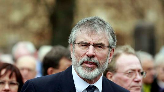 Sinn Fein President Gerry Adams attends the funeral of Father Alec Reid at the Clonard Monastery in west Belfast.
