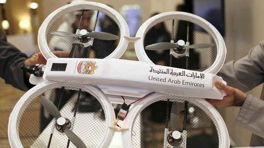 An unmanned aerial drone is displayed during Virtual Future Exhibition, in Dubai