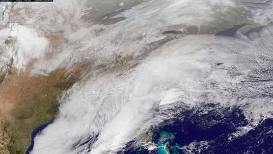 The winter storm sweeping over the U.S. south and East Coast is seen in an image taken by NOAA's GOES-13 satellite
