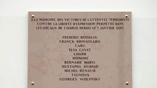 A commemorative plaque to Charlie Hebdo attack victims
