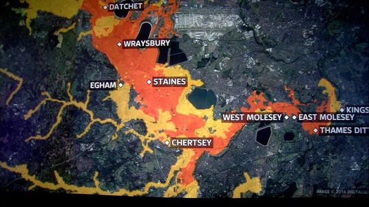 A Sky graphic showing the areas of the Thames with a severe warning