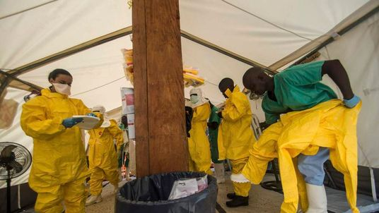 Medecins sans Frontieres working with ebola victims in Sierra Leone
