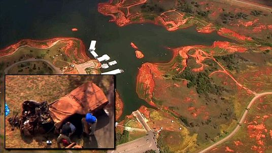 Composite of Foss Lake where skeletal remains found