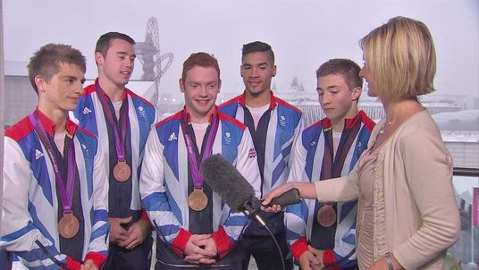 British Olympic men's gymnastic team with Jacquie Beltrao