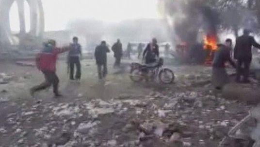 Aftermath of aerial assault on Ras Al-Ain, Syria