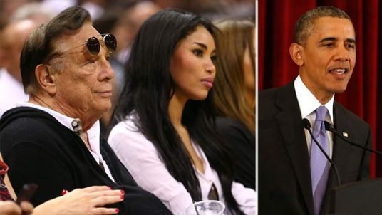 Donald Sterling, his girlfriend V Stiviano and Barack Obama
