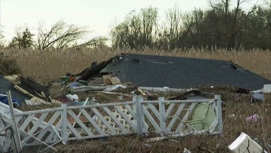 Debris on Staten Island after Sandy hits US