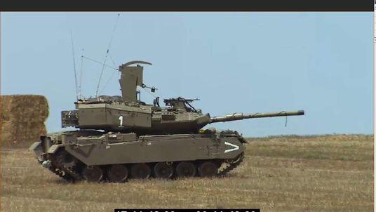Israeli tank near Gaza border