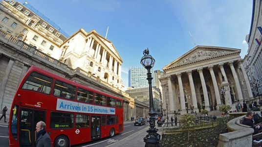 The Royal exchange in London with the Bank of England in the background