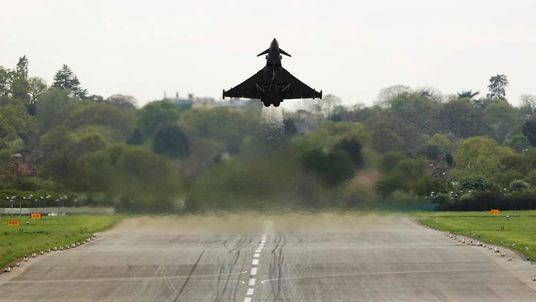 A Typhoon jet takes off from RAF Northolt in west London