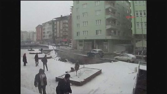 Pavement collapse in Turkey