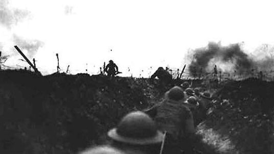 British soldiers wait in the trenches on the Western Front during the First World War in this undated file photo