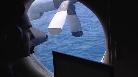 The view from a window on an Australian Orion P-3