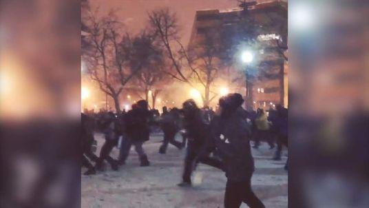 Washington DC Snowball Fight Association hold a match at Dupont Circle