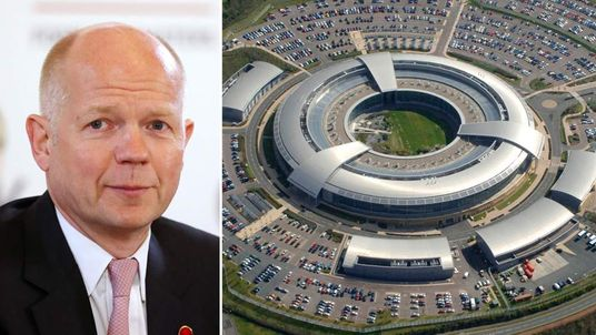 William Hague and the GCHQ building