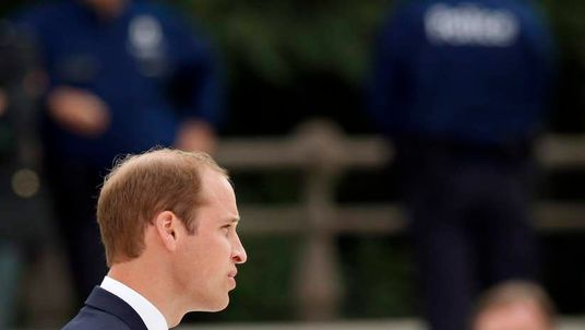 Prince William giving a speech during a ceremony at the Cointe Inter-allied Memorial, Liege, Belgium