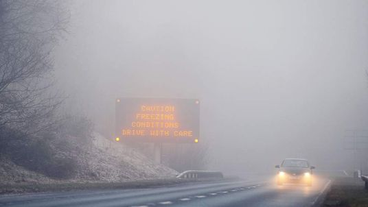 Drivers in freezing fog