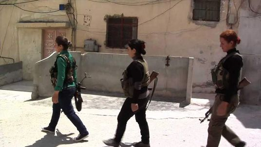 Kurdish women fighters in Aleppo, Syria.