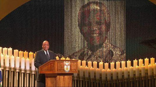 Jacob Zuma leads singing during Nelson Mandela funeral