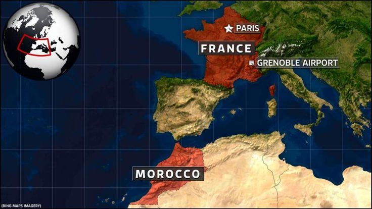 Map of France and Morocco.