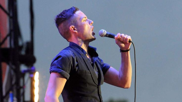 Brandon Flowers of The Killers performing on stage at Hard Rock Calling in Hyde Park