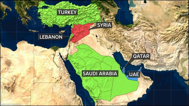 Map of Syria and Gulf states