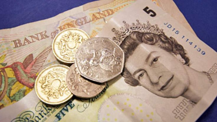 Sterling money in pound coins and bank notes