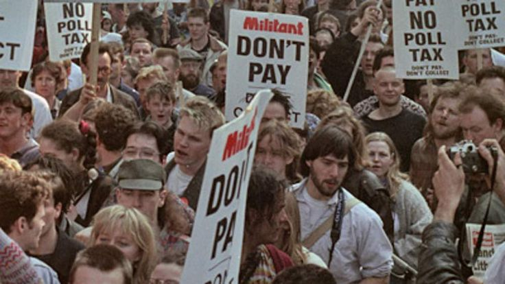 Poll tax march in London, 1990