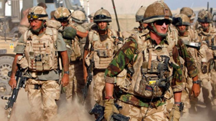 British soldiers from B Company, 2 Mercian set off on an operation in Malgir, Helmand province