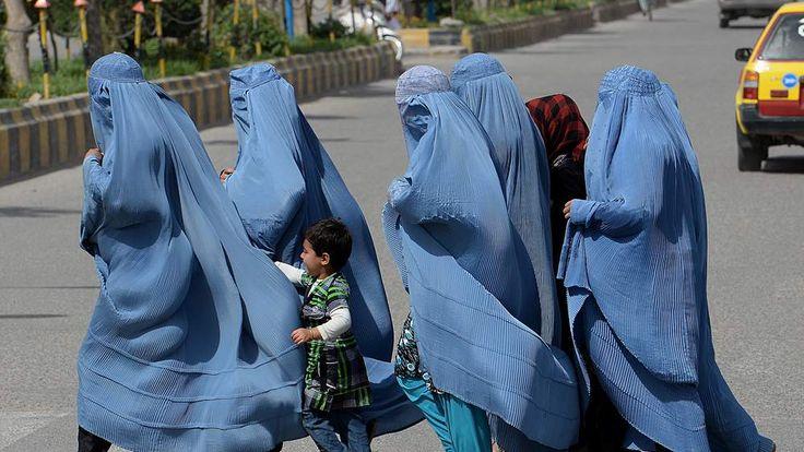 Group of burqa-clad Afghan women