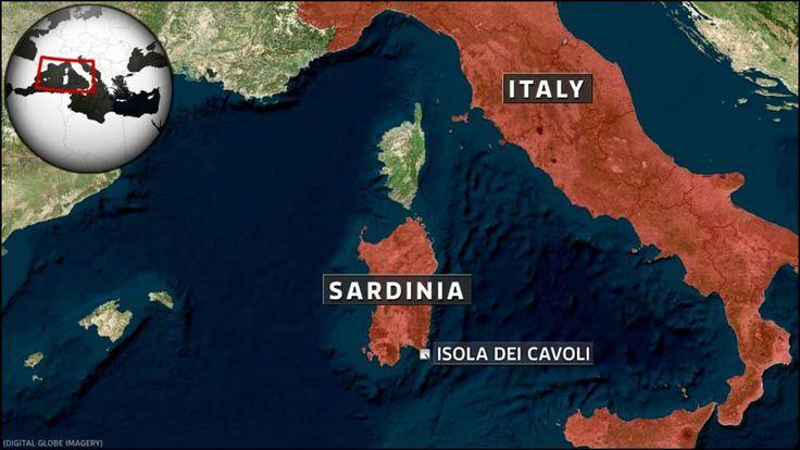Map of Sardinia in Italy