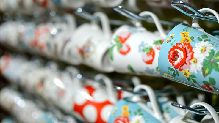 Cath Kidston cups with the distinctive floral pattern