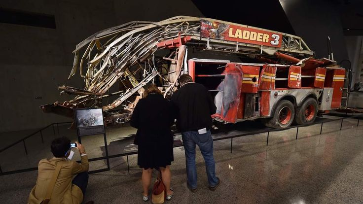 Remains of a New York City Fire Department Ladder Company 3 truck just outside the Historical Exhibition