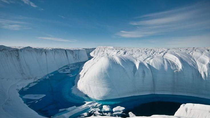 Greenland melt stream. Photo credit Ian Joughin